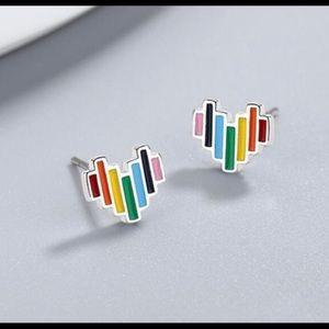 Pride Rainbow Heart Stud Earrings